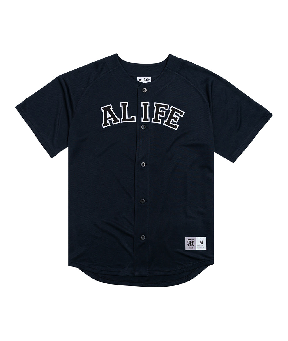 Alife Baseball Jersey in Navy Front