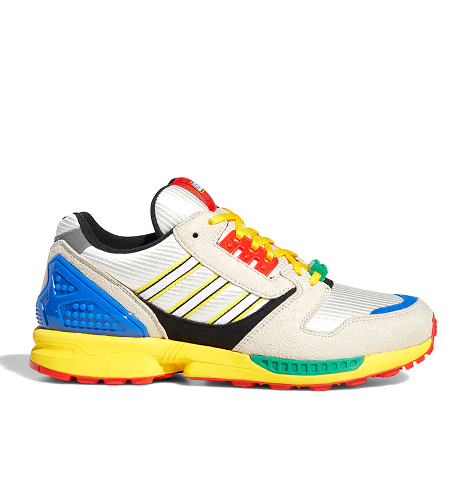 adidas x LEGO ZX 8000 FZ3482 in Yellow/Bliss/Cloud White side view
