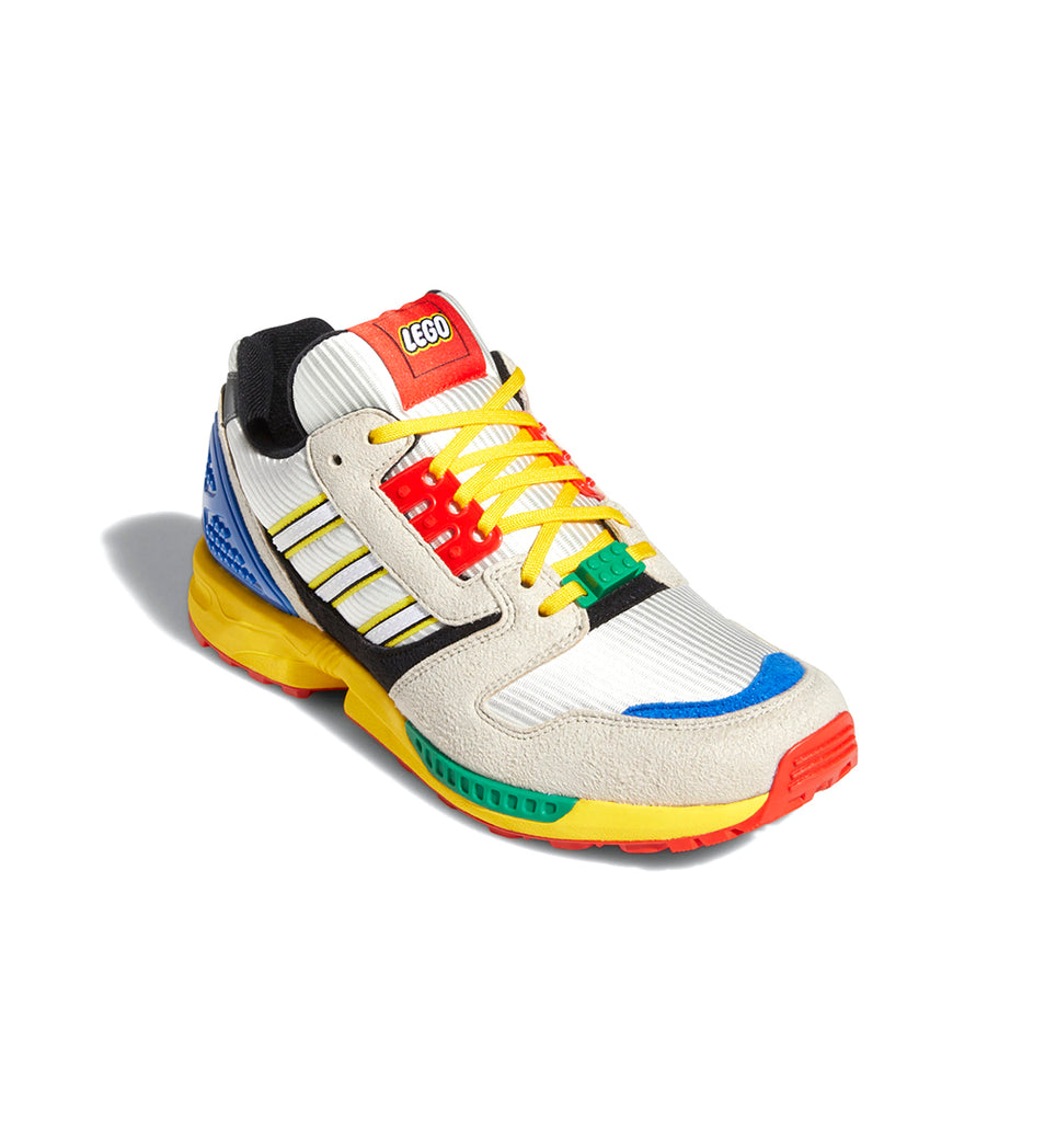 adidas x LEGO ZX 8000 FZ3482 in Yellow/Bliss/Cloud White three quarter view