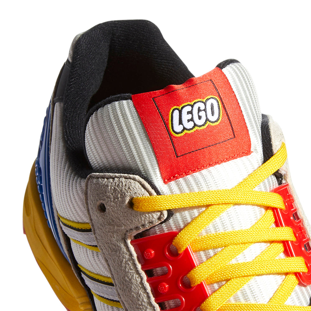 adidas x LEGO ZX 8000 FZ3482 in Yellow/Bliss/Cloud White detail tongue view
