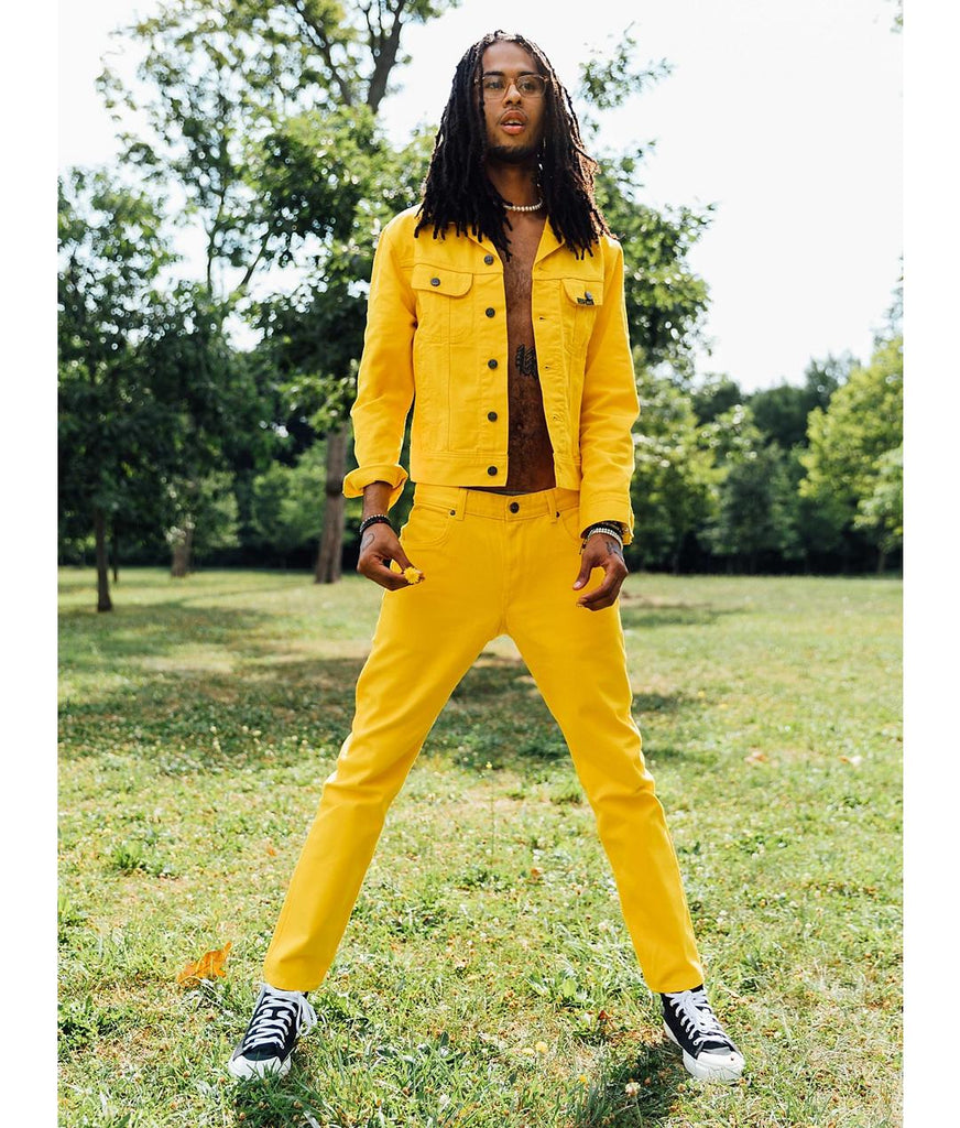 Alife/Lee Colored Cotton Twill Pant in Yellow on model