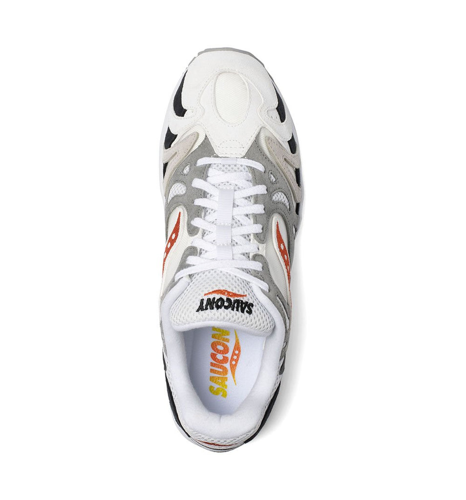 Saucony Grid Azura 2000 S70491-3 in White/Gradient/Orange overhead view