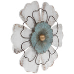 Distressed White & Turquoise Flower Metal Wall Decor.FREE SHIPPING - Artisticspacedecor