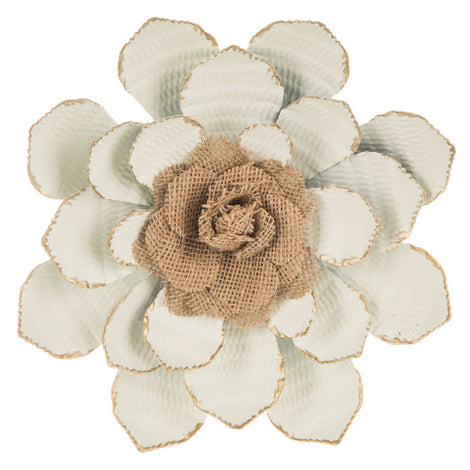 Metal With Burlap Flower Wall Decor. Let your home decor bloom. FREE SHIPPING - Artisticspacedecor