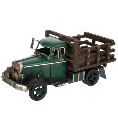 GREEN METAL TRUCK OLD STYLE. ANTIQUE STYLE HOME DECOR. FREE SHIPPING - Artisticspacedecor