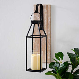 Wood and Metal Hanging Lantern Sconce. Elegant Classic Farm House Decor. FREE SHIPPING