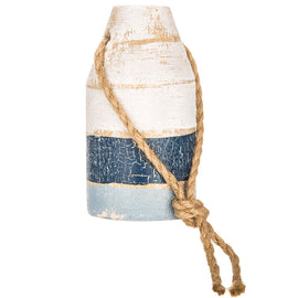 Blue & White Wood Buoy. FREE SHIPPING - Artisticspacedecor