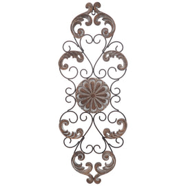 Carved Medallion & Flourishes Metal Wall Decor. FREE SHIPPING