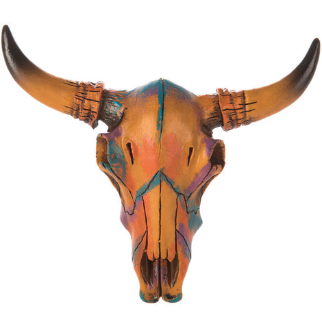 Painted Bull Skull Wall Decor - Small. FREE SHIPPING - Artisticspacedecor