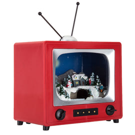 RED Retro TV Musical Christmas Scene Old Fashioned TV Box Christmas Decor