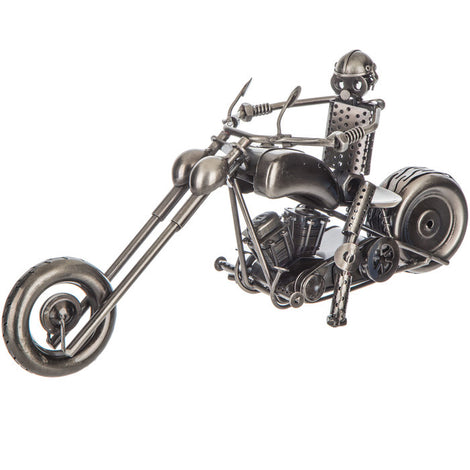 Metal Chopper Motorcycle Sculpture Art Figurine Nuts Bolts Rider Steampunk 15.75