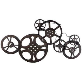 Antique Bronze Metal Movie Reel Wall Décor. 33 1/2