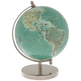 Beautiful Globe On Silver Metal Stand. FREE SHIPPING - Artisticspacedecor
