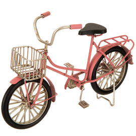 Pink Metal Bike With Basket, Vintage Style. FREE SHIPPING - Artisticspacedecor