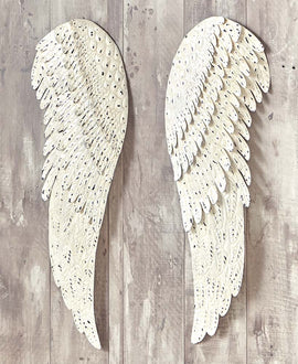 2 PC Metal Angel Wings Large Wall Art. Distressed Vintage Rustic Home Décor - Artisticspacedecor