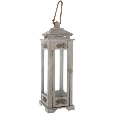 "23"" Tall Antique Gray Carved Wooden Lantern Farmhouse Country Rustic. - Artisticspacedecor"