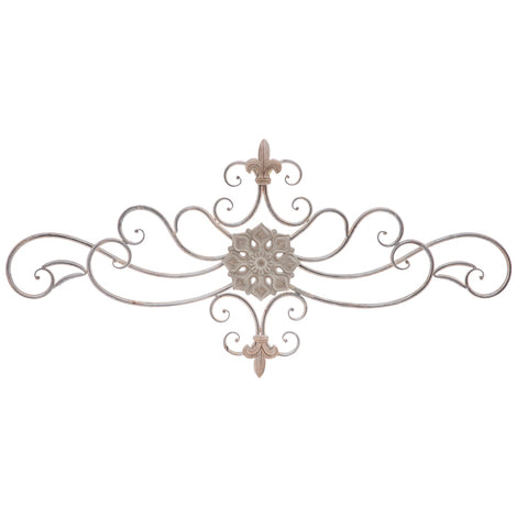 Flower & Fleur De Lis Flourish Metal Wall Decor - Artisticspacedecor