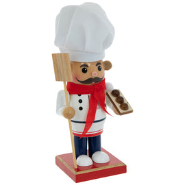 CHRISTMAS NUTCRACKER CHEF WITH PIZZA PADDLE paddle 8 Inches - Artisticspacedecor