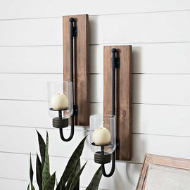 Lankford Wood and Metal Sconces, Set of 2. Industrial Rustic Yet Modern Decor - Artisticspacedecor