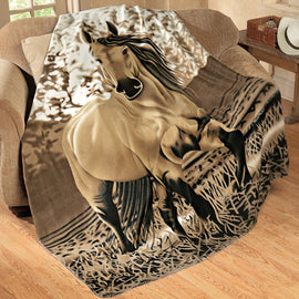 Western Running Horse Fleece Throw Blanket 63 X 73.Great Gift for Horse Lovers. FREE SHIPPING - Artisticspacedecor