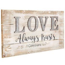 "1 Corinthians 13:7 Wood Wall Decor. "" Love Always Trusts"" FREE SHIPPING - Artisticspacedecor"
