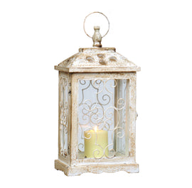 Antique White Wood Lantern. FREE SHIPPING - Artisticspacedecor