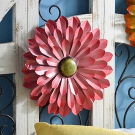 Pink Metal Flower Wall Plaque - Artisticspacedecor