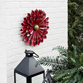 Red Metal Flower Wall Plaque - Artisticspacedecor