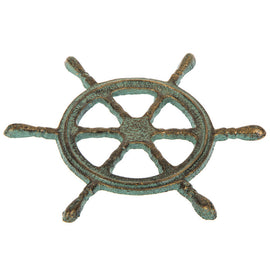 Metal Ships Wheel Turquoise Coastal Decor Set Of Two - Artisticspacedecor