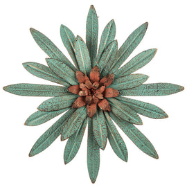 Turquoise Flower Metal Wall Decor beautiful, blooming flower Home Accent - Artisticspacedecor