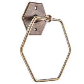 Antique Bronze Hexagon Towel Ring Wall Mounted Bathroom SET OF TWO. FREE SHIPPING - Artisticspacedecor