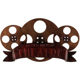 Bronze Home Theater Metal Sign embossed text over a red banner - Artisticspacedecor