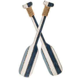 Striped Oars Wood Wall Nautical Decor For Home Man Cave Blue&White - Artisticspacedecor