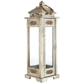 Tall Antique Gray Carved Wooden Lantern Farmhouse Country Shabby Chic NEW - Artisticspacedecor