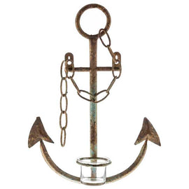 Rustic Light Blue Metal Anchor Wall Sconce. Nautical Home Accent - Artisticspacedecor