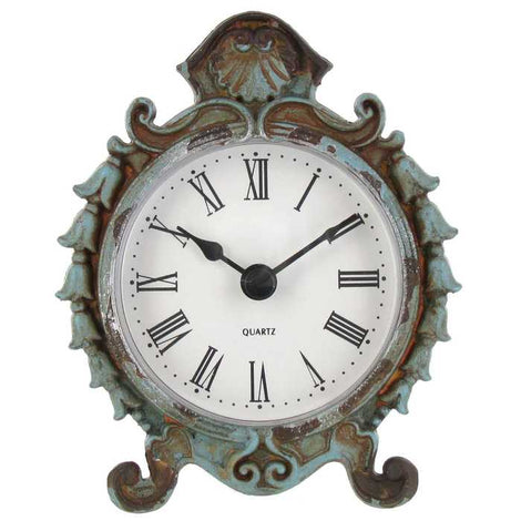 Antique Blue Pewter Table Clock. Timeless Vintage Piece of Decor to any Room - Artisticspacedecor