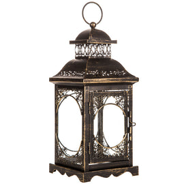 Antique Bronze Metal Lantern. FREE SHIPPING - Artisticspacedecor