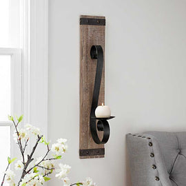 Wood Plank with Metal Accent Wall Sconce. FREE SHIPPING - Artisticspacedecor