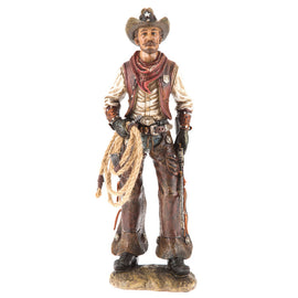 Western Cowboy Standing Figurine With Detailed Features Wild Western Home Decor - Artisticspacedecor