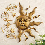 Large Antique Bronze Finish Sun and Stars Wall Art Decor. Shine Your Space - Artisticspacedecor