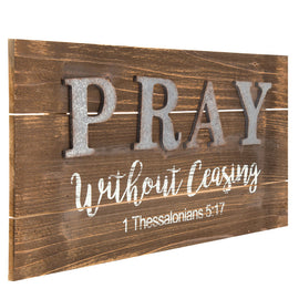 "PRAY WITHOUT CEASING ""1 Thessalonians 5:17"" Wood Wall Decor. FREE SHIPPING - Artisticspacedecor"