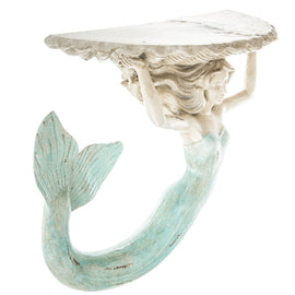 FABULOUS MERMAID & SHELL  WALL SHELF. NAUTICAL HOME DECOR.  PIECE OF ART - Artisticspacedecor