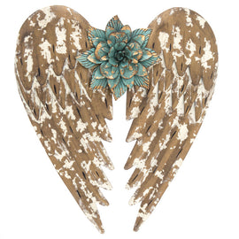 Flower Angel Wings Metal Wall Decor. FREE SHIPPING - Artisticspacedecor