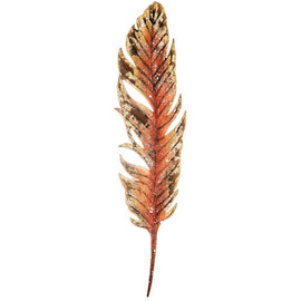 Large Orange Feather Metal Wall Decor - Artisticspacedecor