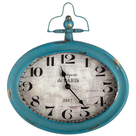 Antique Teal Oval Metal Wall Clock with Top Handle Gorgeous, shabby-chic Clock - Artisticspacedecor