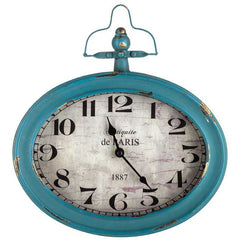 Antique Teal Oval Metal Wall Clock with Top Handle Gorgeous, shabby-chic Clock