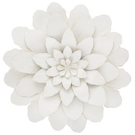 "White Flower Metal Wall Décor. 17"" . Add a fancy floral accent to your wall - Artisticspacedecor"