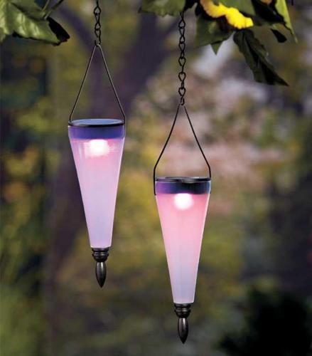 Changing  Colors Solar Lanterns ~ Outdoor Hanging Garden Lighting Lights Set of 2 Color - Artisticspacedecor