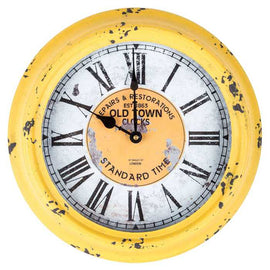 Gorgeous Yellow Round Old Town Metal Wall Clock instant style upgrade! - Artisticspacedecor