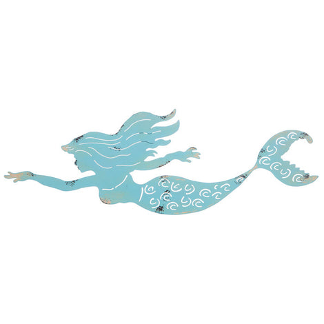 Blue Swimming Mermaid Metal Wall Decor Set Of TWO - Artisticspacedecor